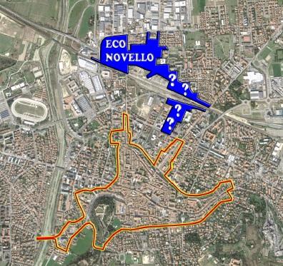Cesena - Perimetro Urbano & Area interessata Progetto Eco-Novello.
